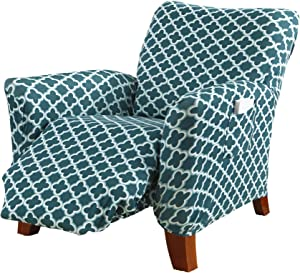 Printed Twill Recliner Slipcover. One Piece Stretch Recliner Cover. Strapless Recliner Cover for Living Room. Fallon Collection Slipcover. (Recliner, Smoke Blue)