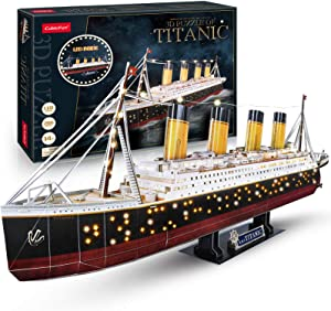 CubicFun 3D Puzzles for Adults RMS Titanic Ship Toys Model Kits 34.6'', Difficult Watercraft Jigsaw Family Puzzles and Cruise Ship Room Decor Gifts for Women and Men, 266 Pieces(Large with LEDs)