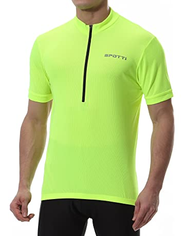 57b1148ff195 Spotti Men's Cycling Bike Jersey Short Sleeve with 3 Rear Pockets- Moisture  Wicking, Breathable