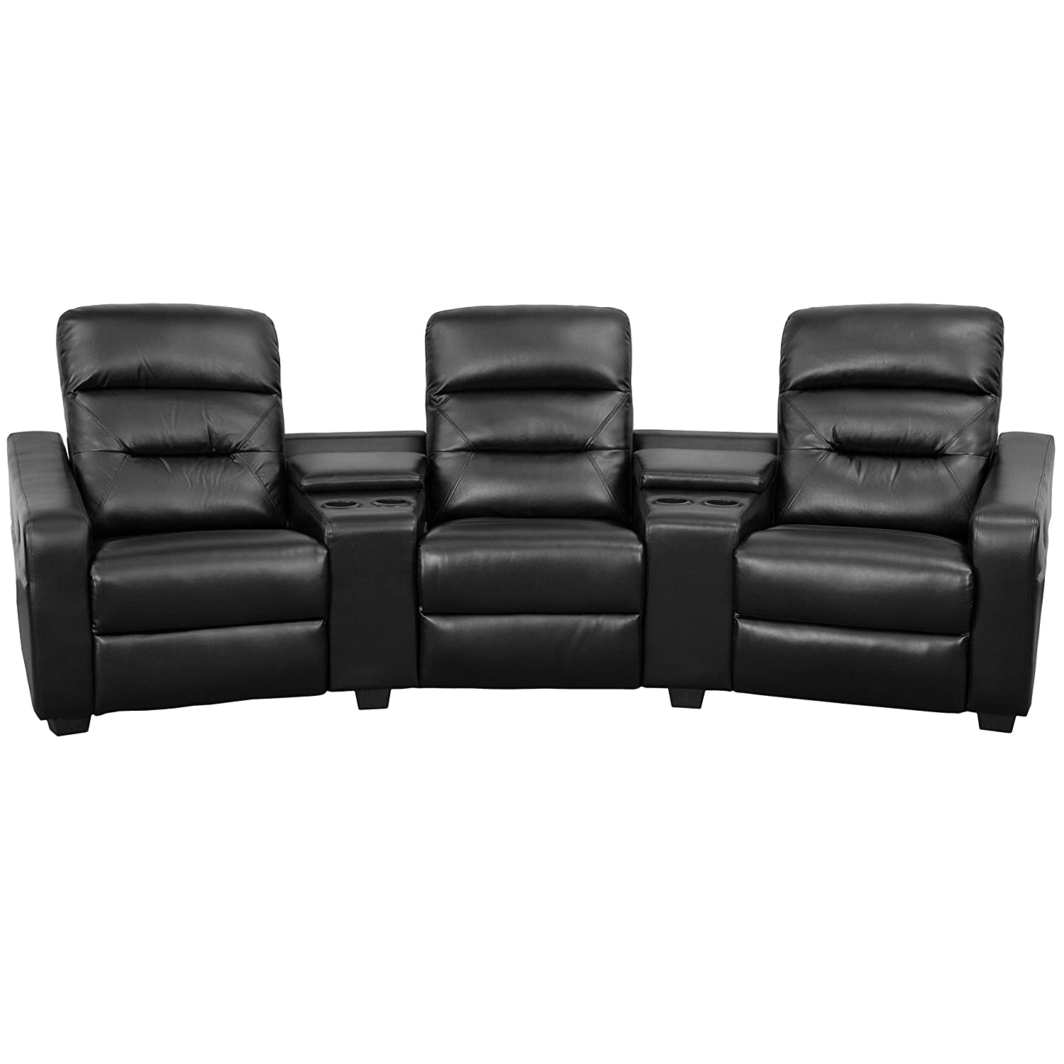Amazon.com: Flash Furniture Futura Series 3 Seat Reclining Black Leather  Theater Seating Unit With Cup Holders: Kitchen U0026 Dining