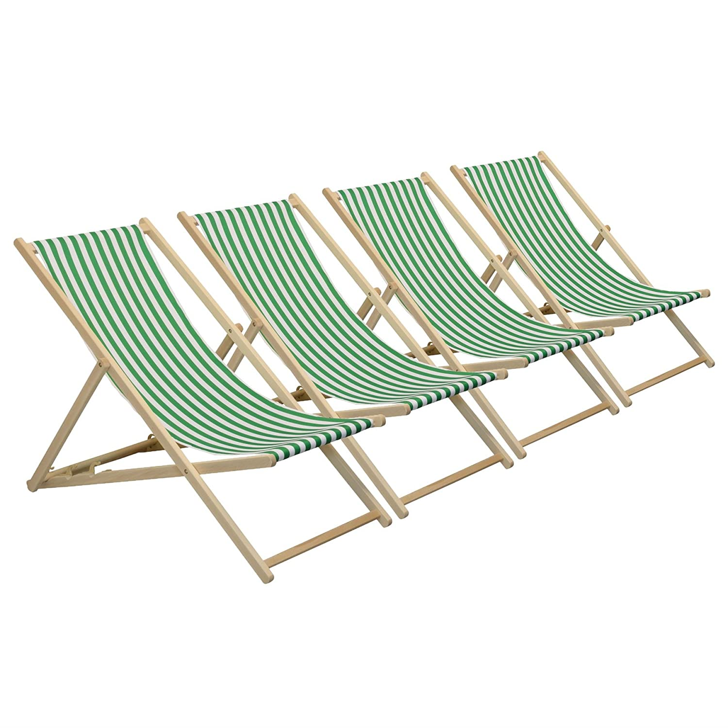 Harbour Housewares Traditional Adjustable Garden/Beach-style Deck Chair - Green/White Stripe - Pack of 4