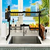 """【Expandable Dimension】 2021 Adbiu Over Sink (Fit Sink 24""""- 41"""" L) Dish Drying Rack Snap-On Design 2 Tier Kitchen Large Dish D"""