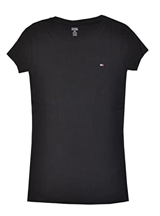 5f6902c0f Tommy Hilfiger Women Slim Fit Crewneck Logo T-Shirt at Amazon Women's  Clothing store: