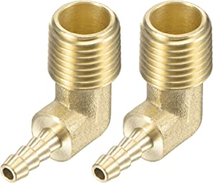 uxcell Brass Hose Barb Fitting Elbow 3/16 Inch x 1/4 NPT Male Thread Right Angle Pipe Connector, Pack of 2