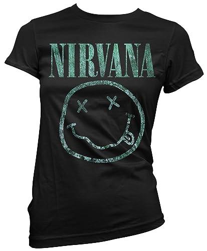 T-shirt Donna Nirvana – Light Green Texture Maglietta 100% cotone LaMAGLIERIA,M, nero