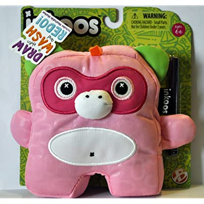 Inkoos Mini Plush Monkey with Marker - Pink - by Inkoos: Toys & Games