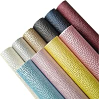 AOUXSEEM Vivid Shiny Pearl Litchi Pattern Faux Leather Sheets for Earrings Bows Ornaments Making,Metallic Solid Color PU…
