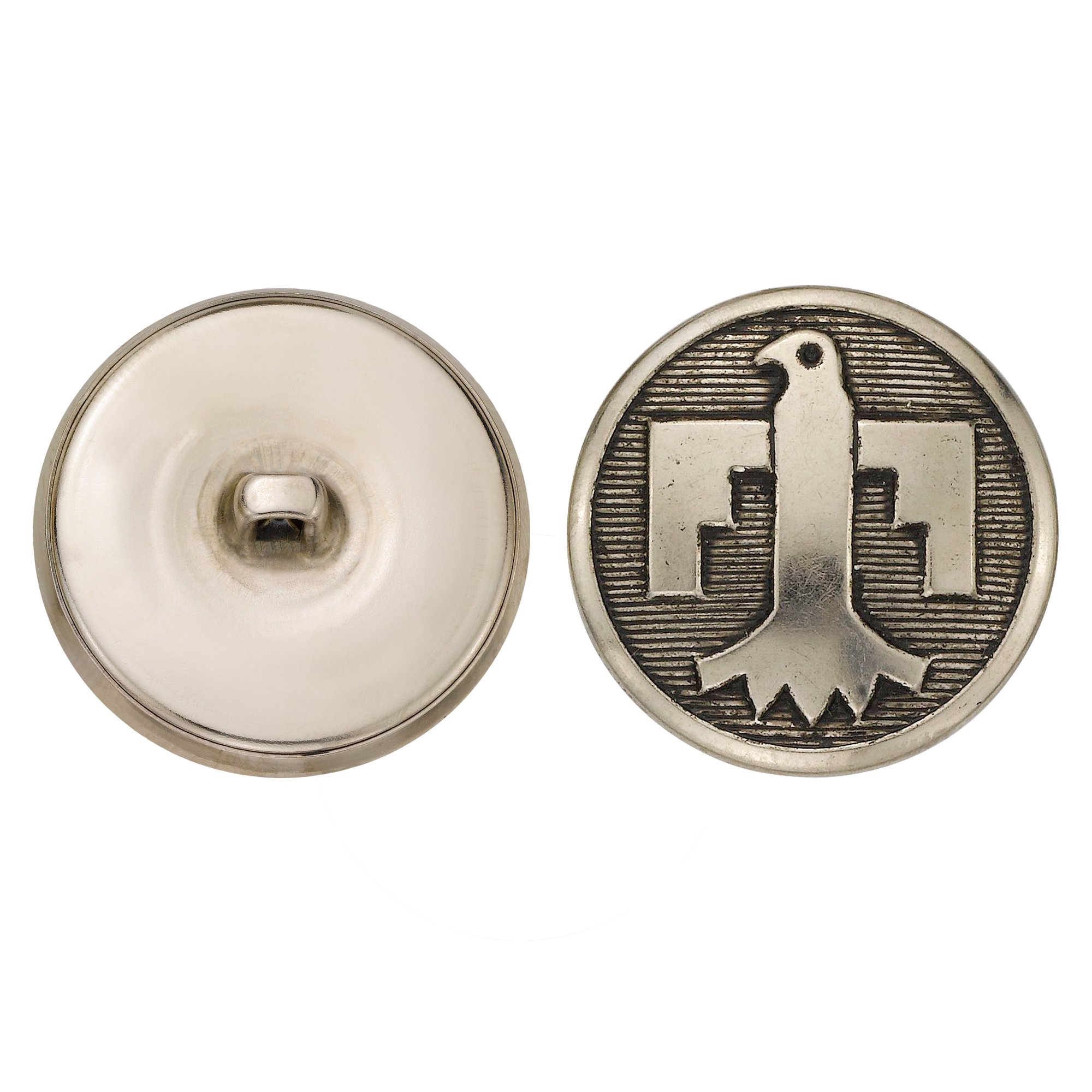 C&C Metal Products 5171 Geometric Eagle Metal Button, Size 45 Ligne, Antique Nickel, 36-Pack