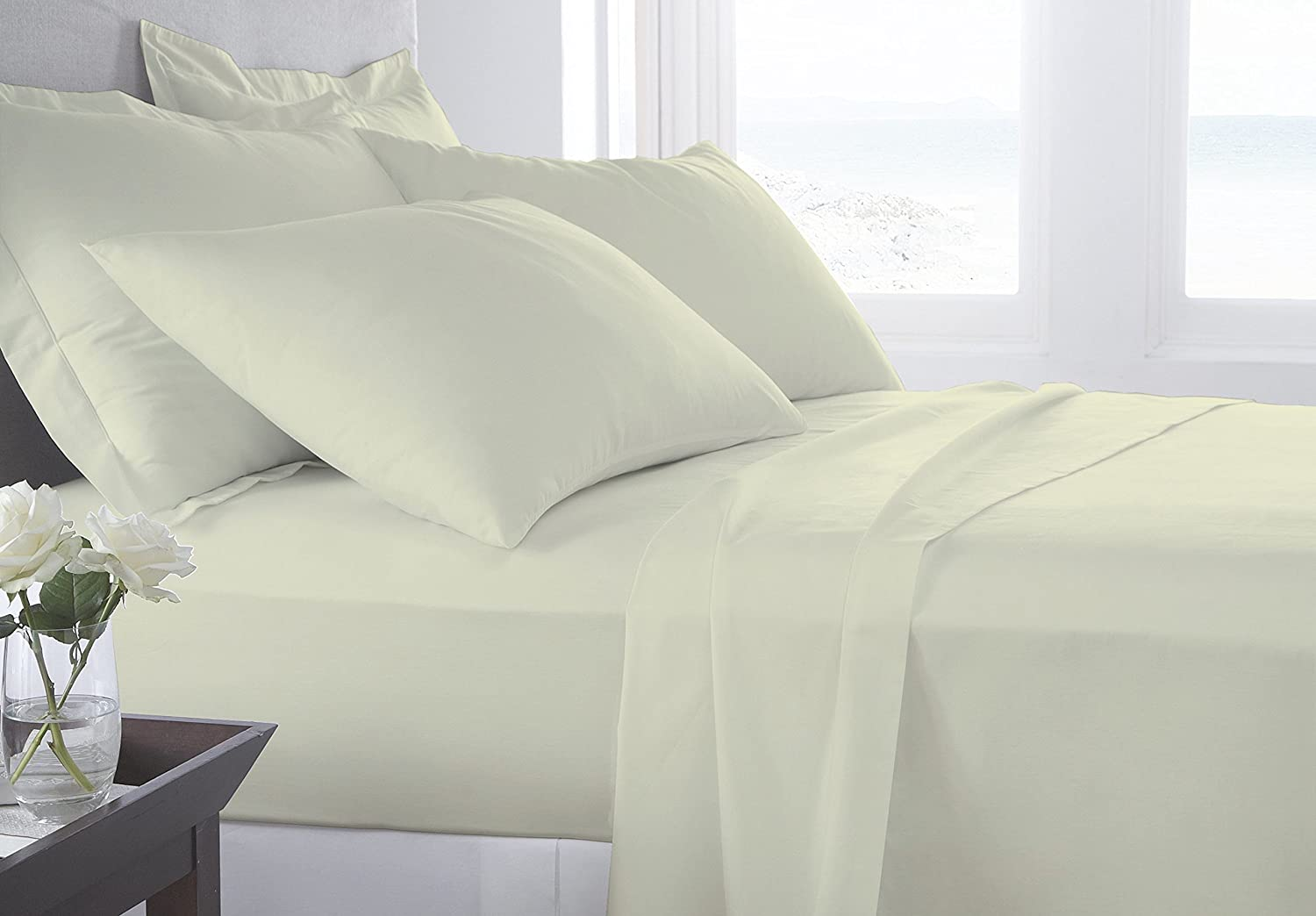 4 Piece Bed Sheet Set with Extra deep pocket 20 inch deep Premium Range 100% Egyptian Cotton 600 Thread Count By Kotton Culture (Luxurious and Hypoallergenic) (Ivory, King) FBASSIvory619K