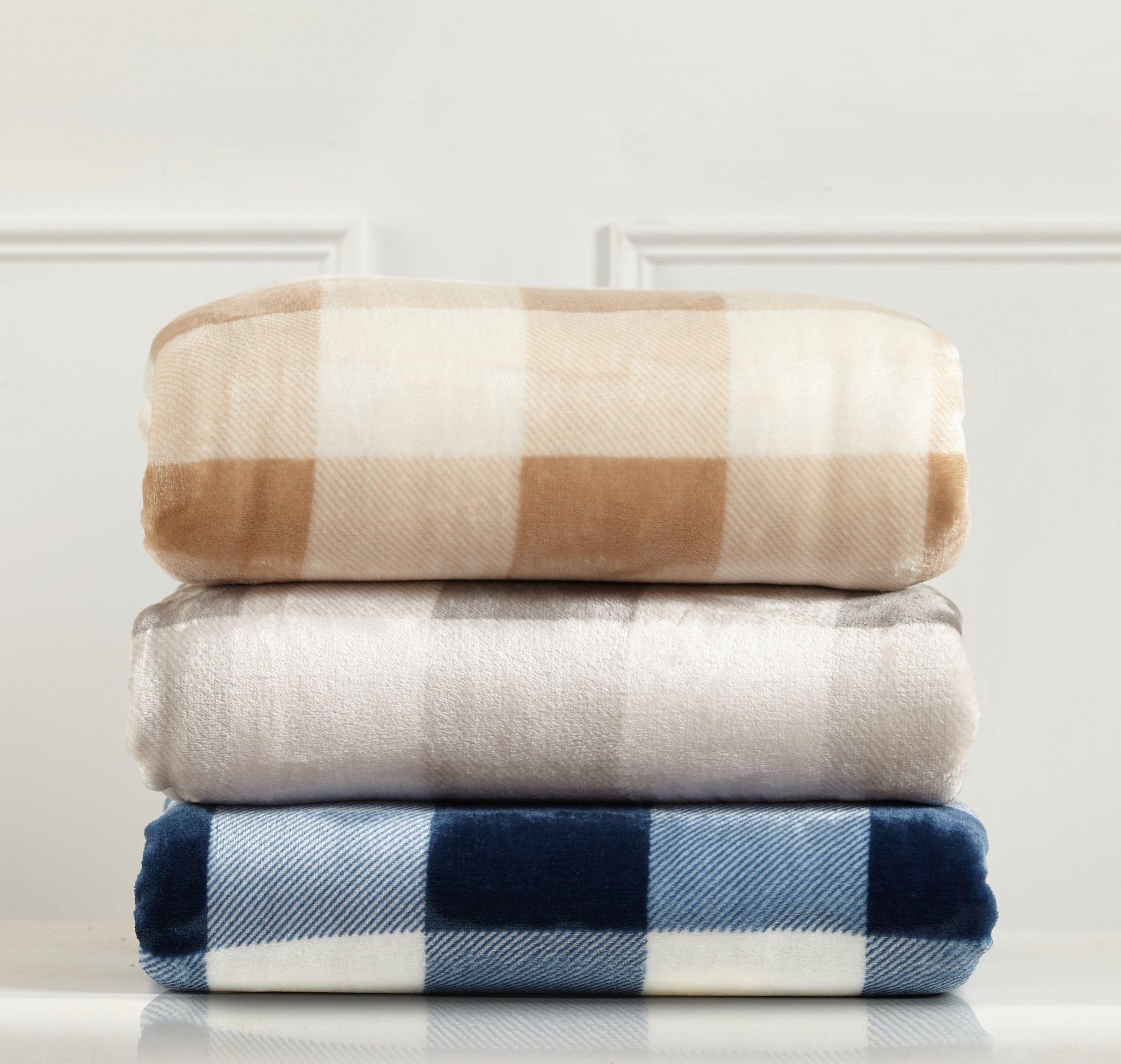 Great Bay Home Super Soft Plaid Buffalo Check Velvet Plush Bed Blanket. Flannel Fleece All Season Lightweight Blanket. (Full/Queen, Denim Blue)