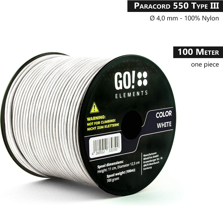 4mm Paracord 550 Typo III Cuerda MAX GO!elements 100m Paracord de Nylon a Prueba de desgarros 250kg Adecuado como Cuerda Yute /& Cuerda Gruesa