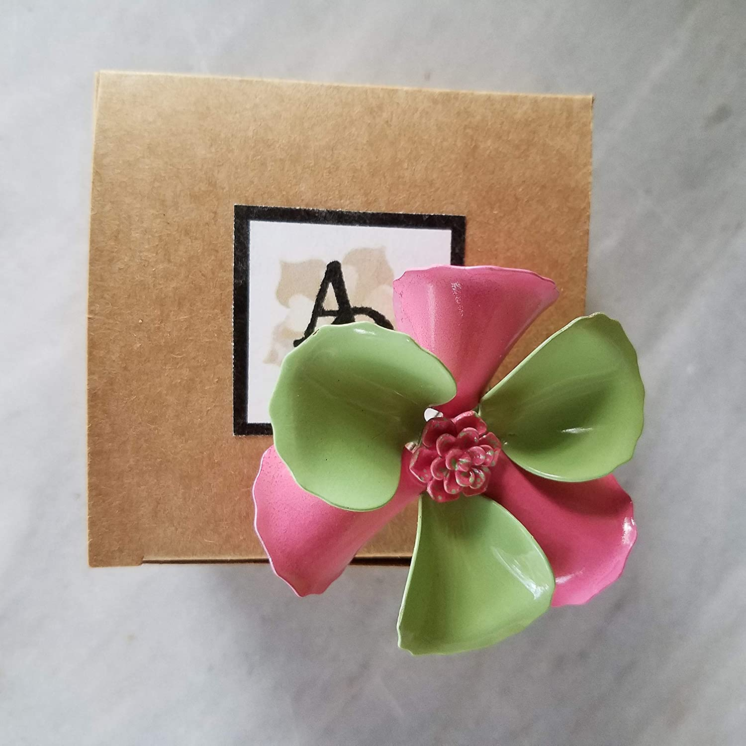Pink and Green Enamel Flower Brooch