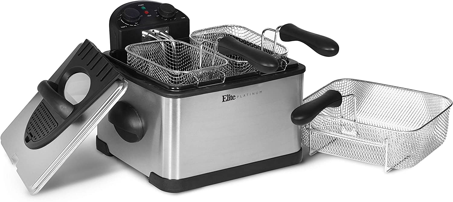 Elite Gourmet Stainless-Steel Triple Basket Electric Deep Fryer with Timer and Temperature Knobs