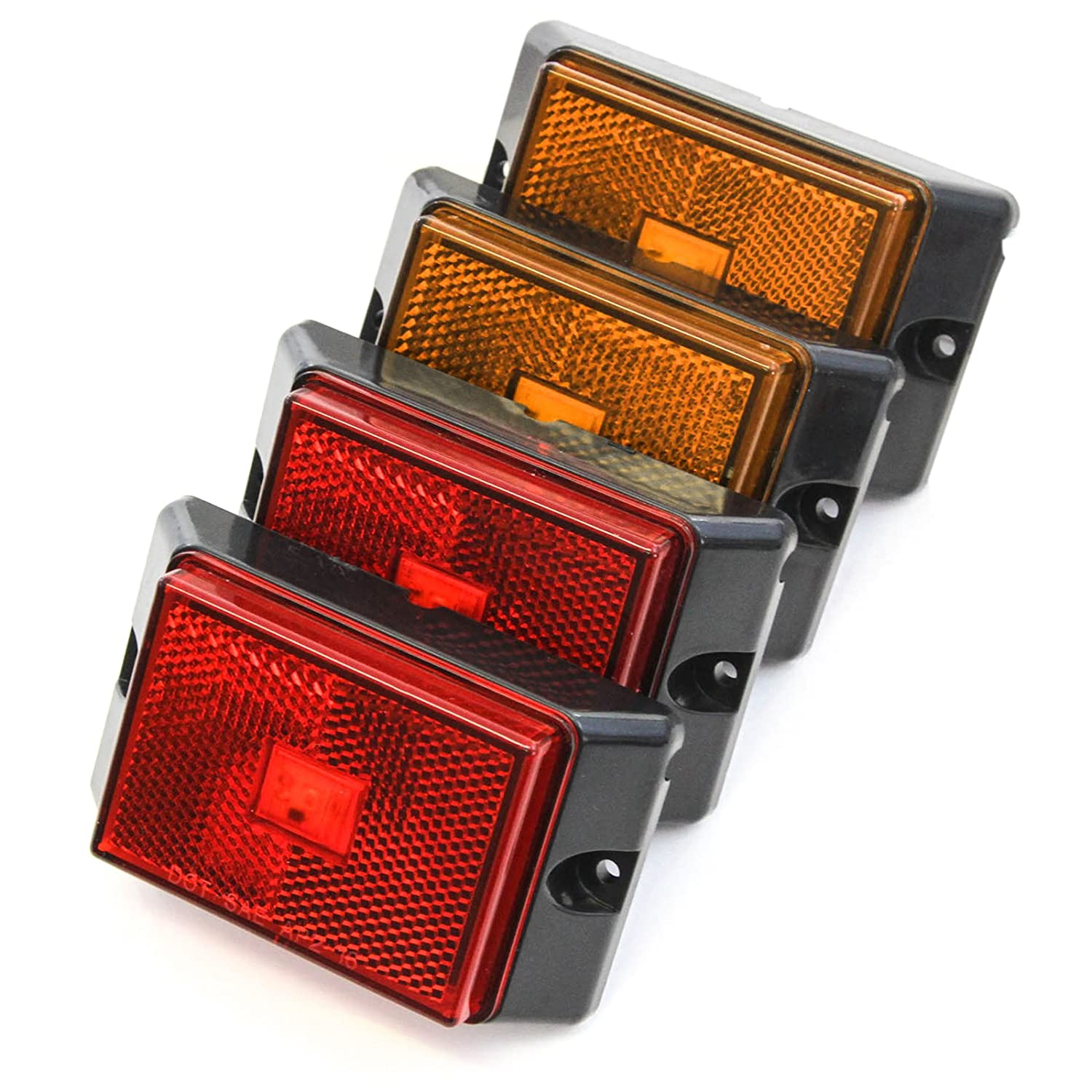 2 Red 2 Amber 4 Inches Pickup Boat Bright 4 Side Marker Lights LED Trailer