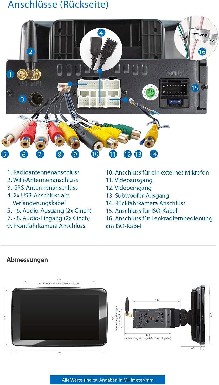 SD XOMAX XM-VA910R Autoradio con Android 10 I Octa Core RDS I 1 DIN 4G 32GB ROM I Navigatore GPS I Supporto WIFI OBD2 I Bluetooth I IPS Touch Screen 9 I USB 4GB RAM DAB