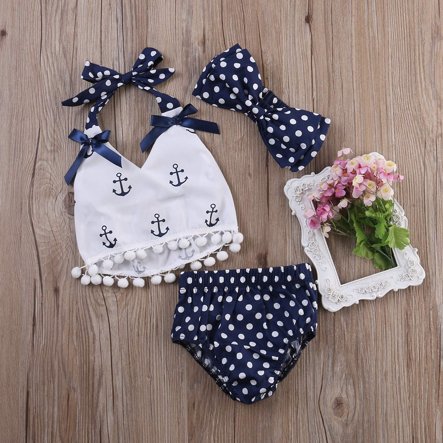 New 3pcs Baby Girl Clothes Tops and Navy Polka Dots Briefs Outfits Set Outfit Clothing Set