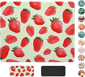 Mouse Pad with Stitched Edges,Premium-Textured Mouse Mat Pad,Non-Slip Rubber Base Mouse pad for Laptop, Computer & PC,Office Desk Accessories 10.2×8.3Inch (Strawberry)