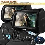"""Xtrons Lot de 2 lecteurs DVD pour appui-tête de voiture Écran tactile HD 9""""/émetteur FM et IR/casques IR noir"""