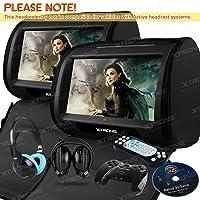 "XTRONS Black 2X Twin Car headrest DVD player 9"" HD Touch Screen with FM Game Disc Mp3 IR Headphones"