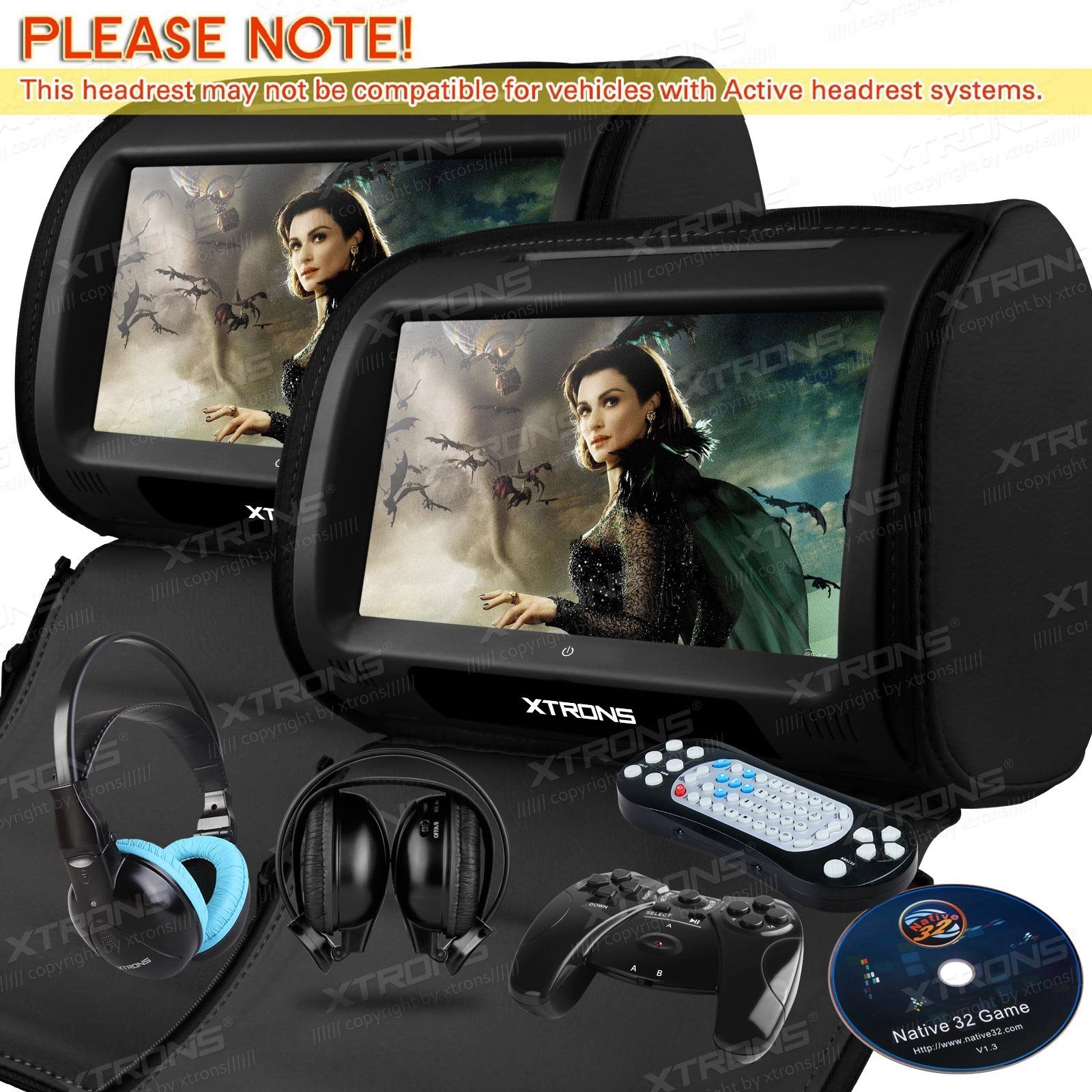 XTRONS Black 2X Twin Car headrest DVD player 9'' HD Touch Screen with FM Game Disc Mp3 IR Headphones by XTRONS