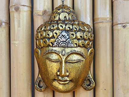 Beautifully Hand Carved Gold Wooden Buddha Mask