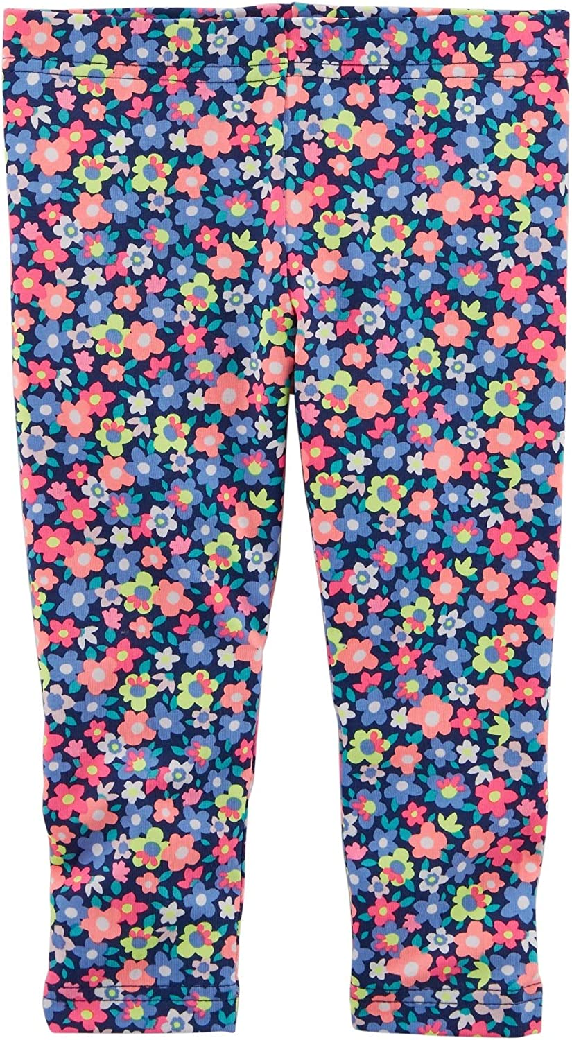 9 Months Blue Floral Carters Baby Girls Floral Capri Leggings