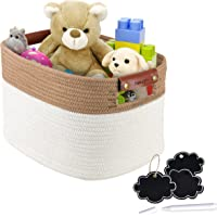NaturaClo Cotton Rope Storage Basket| Decorative Woven Basket W/Leather Basket Handles & Chalk Tags |Woven Baskets for…