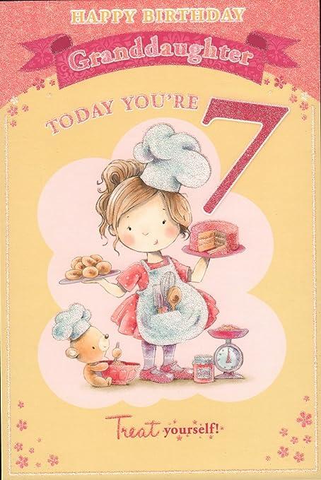 Carte D Anniversaire Pour Petite Fille Joyeux Anniversaire Petite Fille Aujourd Hui Vous Etes 7 Amazon Fr Jardin