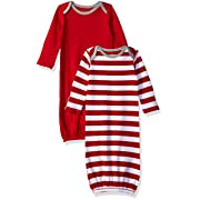 Moon and Back Baby Organic 2-Piece Sleeper Gown, red Cranberry, 0-6 Months