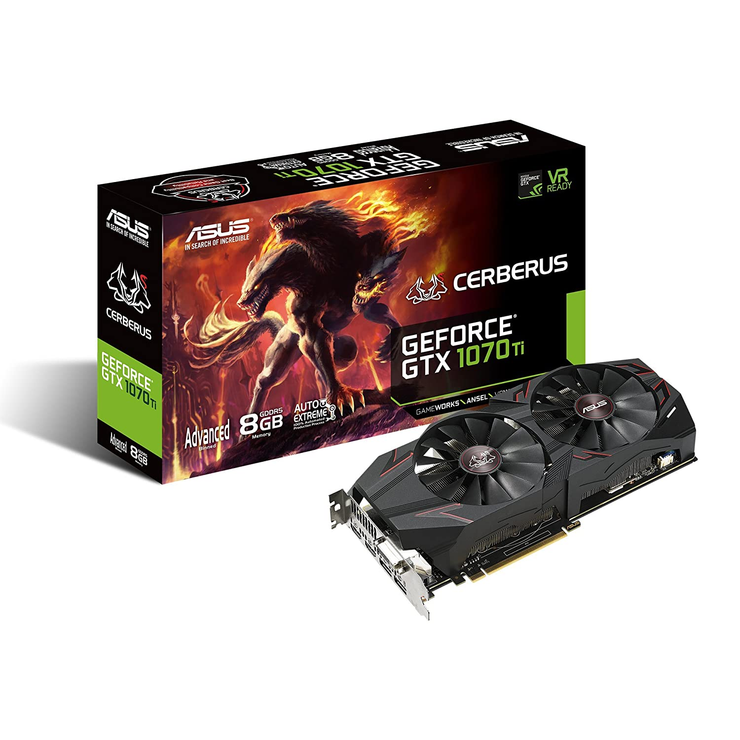 ASUS Cerberus GeForce GTX 1070 Ti 8GB GDDR5 Advanced Edition VR Ready DP HDMI DVI Gaming Graphics Card (CERBERUS-GTX1070TI-A8G)