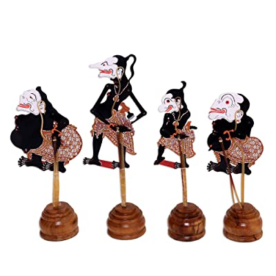 NOVICA Black and Red Handmade Leather Shadow Puppets, The Punokawans in Black' (Set of 4): Home & Kitchen