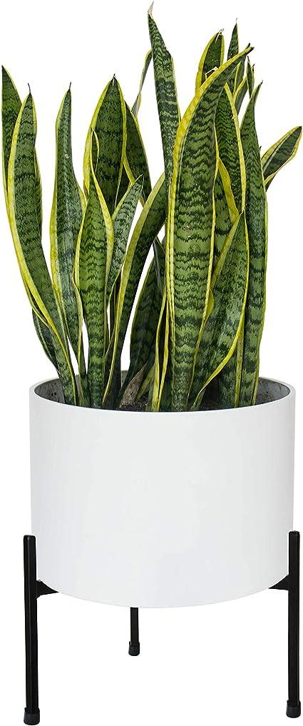 Black Metal Tripod Ceramic Pot  Plant Stand with 10 Ring