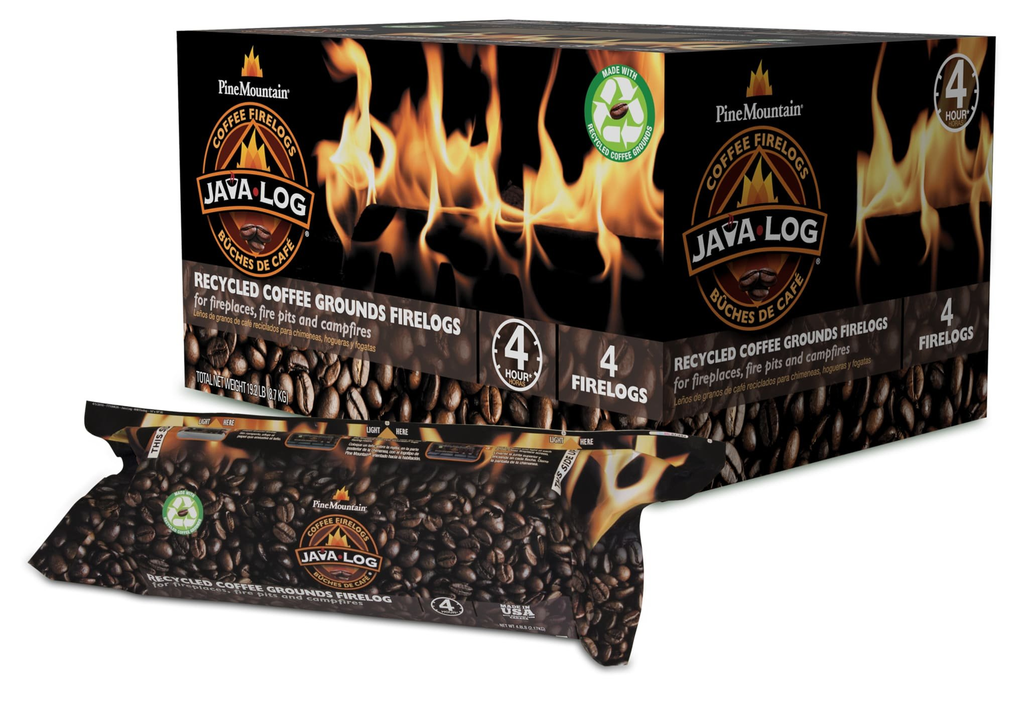 Pine Mountain, Indoor & Pine Mountain Java Recycled Coffee Grounds Hour Time, 4 Logs (4152501471) Long Burning Firelog for Campfire, Fireplace, Fire Pit, Indoor & Outdoor Use, Brown, 4 count by Pine Mountain