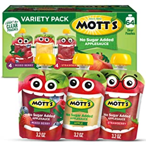 Mott's No Sugar Added Applesauce Variety Pack, 3.2 Ounce Clear Pouch, 16 count (Pack of 4)