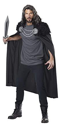 California Costumes Menu0027s Wolf Clan Warrior Cape, Black, One Size