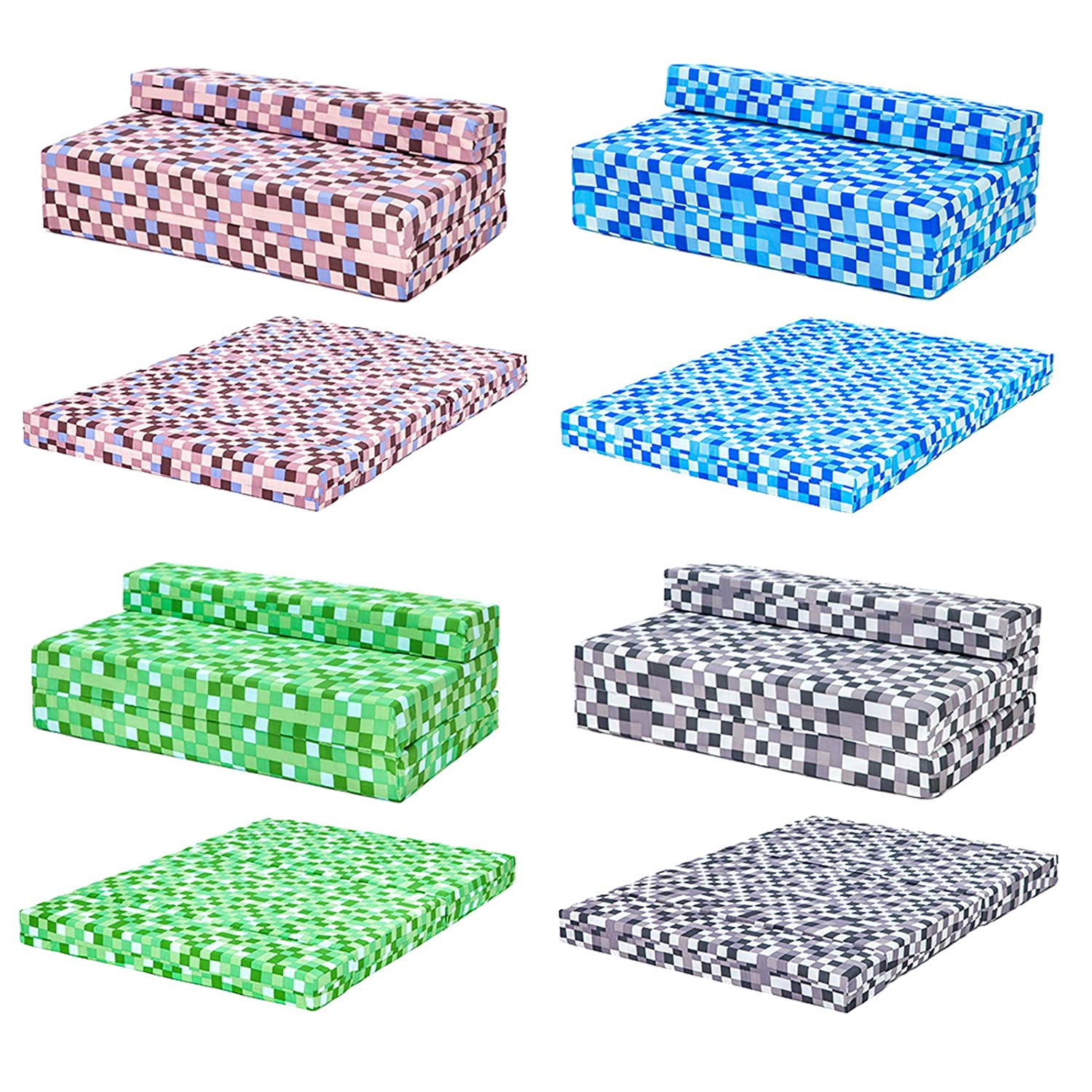 Blue Pixels Design Double Foam Fold Out Z Bed Sofa Guest Mattress Sleepover Ready Steady Bed