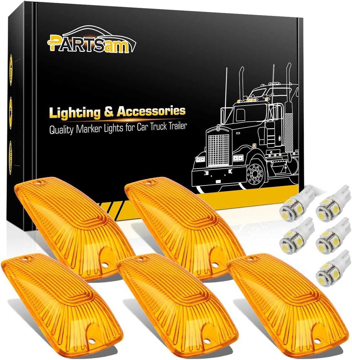 T10 White 5050 LED Bulbs Compatible with Chevy//GMC C1500 C2500 C3500 C5500 C6000 C6500 C7000 C7500 K1500 K2500 K3500 K5500 K6000 K6500 K7000 K7500 1988-2002 Partsam 5X Amber Cab Marker Cover