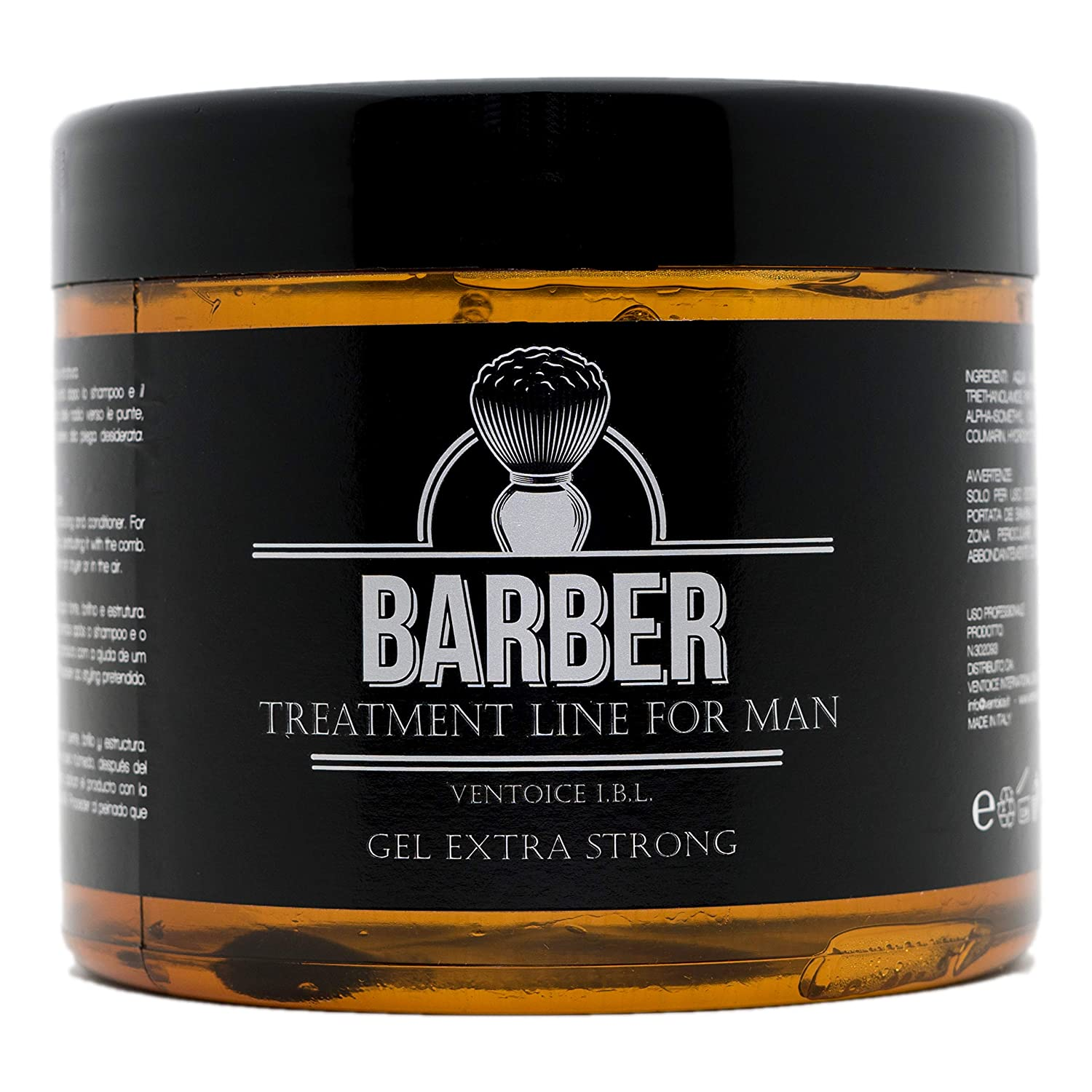 BARBER - GEL EXTRA STRONG A TENUTA EXTRA FORTE NON APPESANTISCE NO RESIDUI 100% NATURALE 500 ML FORMATO PROFESSIONALE 100% MADE IN ITALY VENTOICE I.B.L.