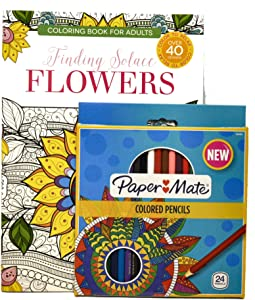 Finding Solace Flowers Adult Coloring Color Book Bundle with 24 Paper Mate (R) Colored Pencils
