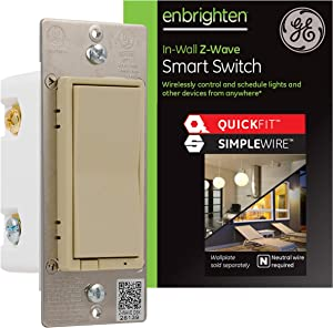 GE Enbrighten Z-Wave Plus Smart Light Switch with QuickFit and SimpleWire, 3-Way Ready, Works with Alexa, Google Assistant, ZWave Hub Required, Repeater/Range Extender, Ivory, 47191
