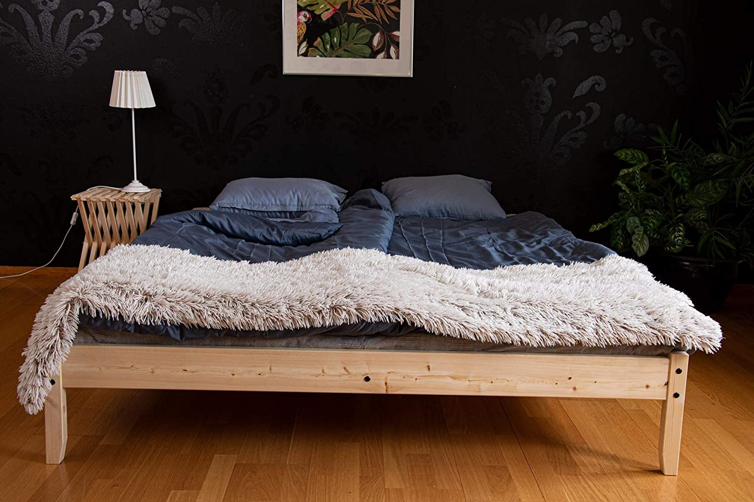 J.Johansson Springfield Wood Platform Bed Frame / Wooden Slates / 60x80 / Easy Assembly, Queen, Pine