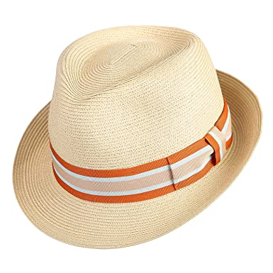 75a7fa18766b32 Janetshats Straw Fedora Unisex Summer Sun Hats Panama Short Brim Hat Men  Women