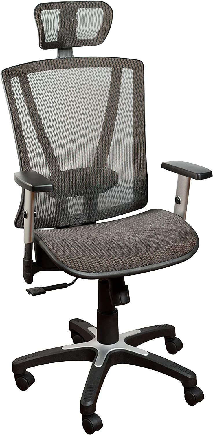 Ergomax Fully Meshed Ergonomic Height Adjustable High Back Office Desk Chair w/Armrests & Headrest, 52 Inch Max, Brown