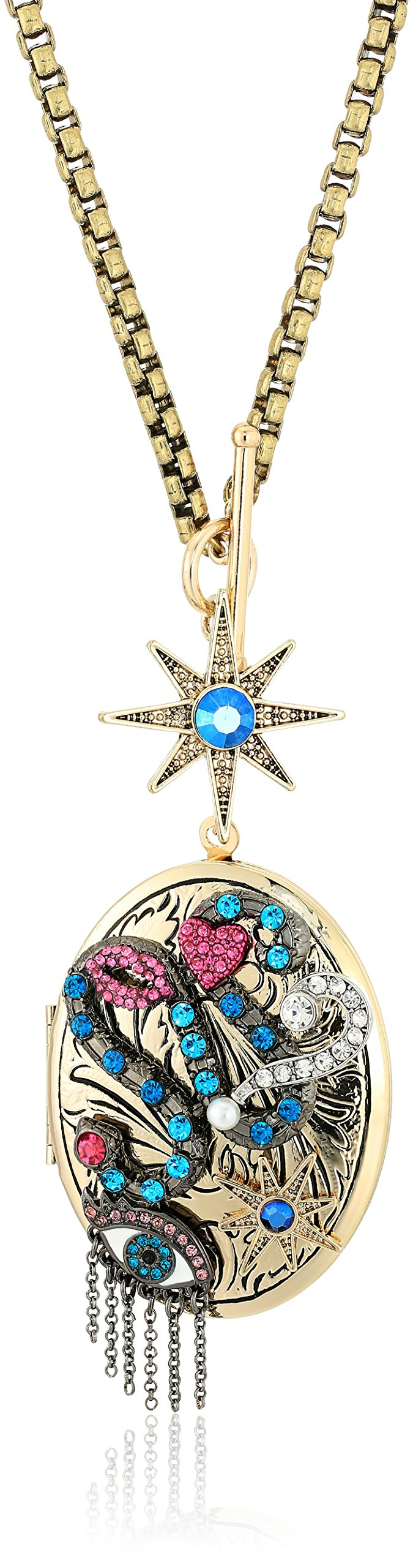 Betsey Johnson Mystic Baroque Queens Gold Pendant Locket Necklace
