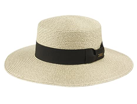 66fd416eb40b ANGELA & WILLIAM Grosgrain Band Wide Porkpie Boater Derby Flat Top Fedora  Sun Hat (A Metallic Natural) at Amazon Women's Clothing store: