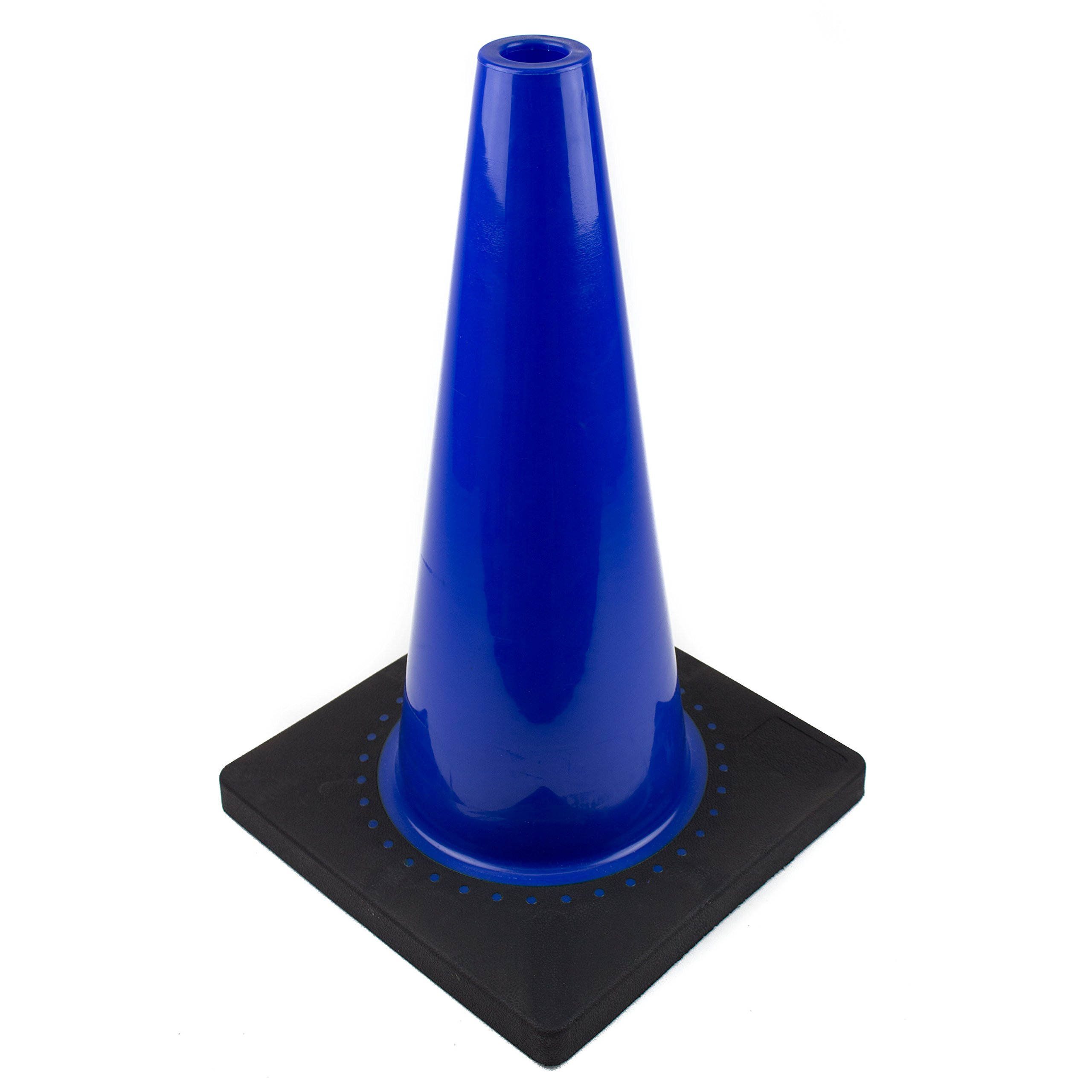 (Set of 24) RK PVC Traffic Safety Cone, Black Base, 18-Inch, Blue