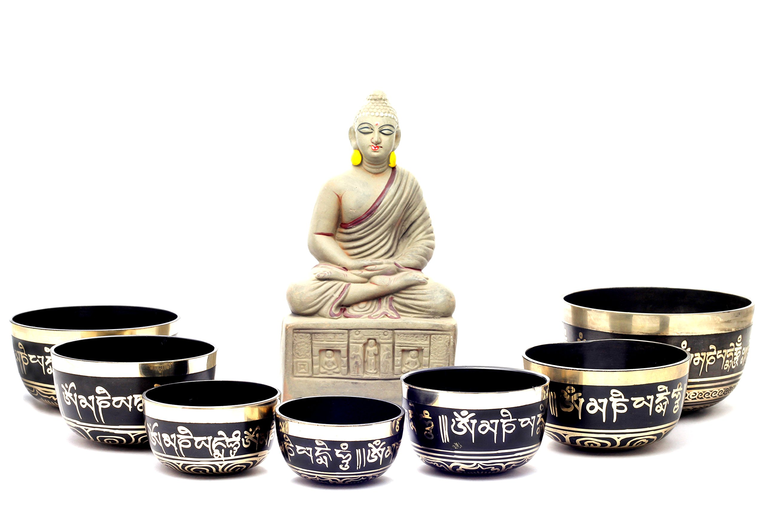 Chakra Healing Tibetan Singing Bowl Sets 7 Sets of Meditation Bowls From Nepal (Black painted) by TM THAMELMART FOR BEAUTIFUL MINDS