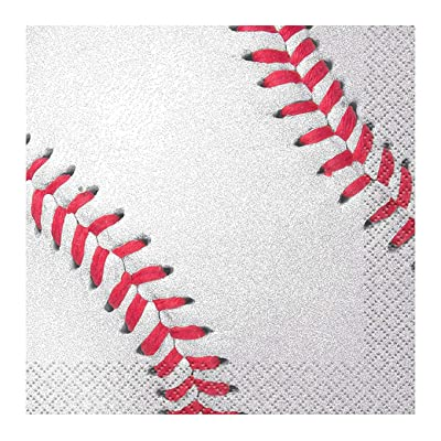 Baseball Beverage Napkins, 16ct: Kitchen & Dining