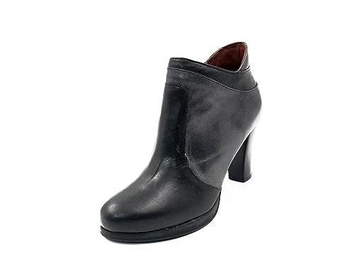 Botines mujer PITILLOS en piel color negro combinado color gris - 1488 - 559 (40