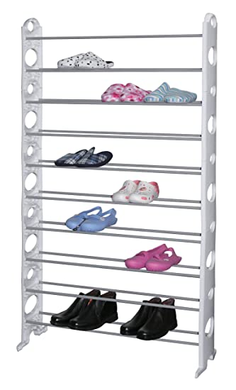 Surehome White 10 Tier 50 Pair Adjustable Shoe Rack Storage Organiser Shelf